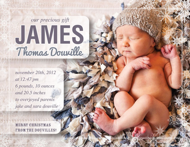 James' Birth AnnouncementJames' Birth Announcement Photo by Ifong Chen Design by Jake Douville