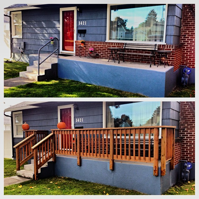 New front porch railing.