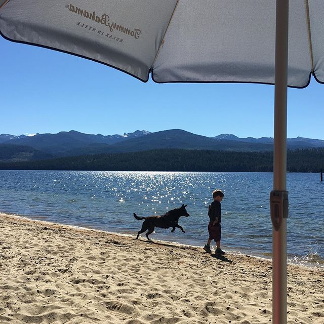 A boy and his dog #morningcoffee #priestlake #chimneyrock #snowinthemountains